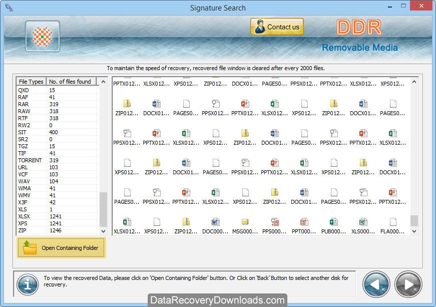 Restore all lost data removable storage media